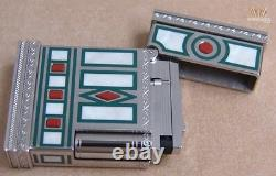 S. T Dupont Limited Edition Medici Marbled White Lacquer Gatsby Lighter Gorgeous