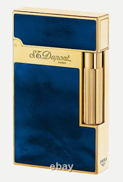 ST DUPONT ATELIER LIGNE LINE 2 LIMITED EDITION GOLD LIGHTER DARK BLUE 016134 laq