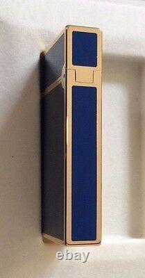 St Dupont Europa Linge 2 Line 2 Limited Edition Gold Lighter Blue Lacquer 1993