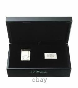 St Dupont Picasso Dove Line 2 Limited Edition Palladium Lighter Black Lacquer