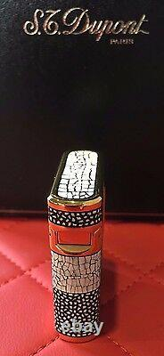 St Dupont Soubreny Maki E Limited Edition Eggshell Gold Lighter Lacquer Bnib