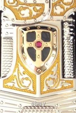 St Dupont White Knight Prestige Limited Edition Linge Line 2 Gold Lighter Lacque