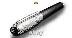 St Dupont Wild West Fountain Pen Limited Edition Platinum Black & Meteor Lacquer