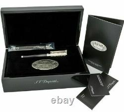 St Dupont Wild West Rollerball Pen Limited Edition Platinum Black Lacquer 412065