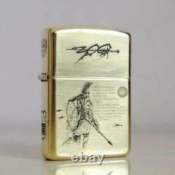 Zippo Limited Edition Armor Brass 300 Sparta Warriors Zippo Black Velvet Box