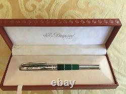 S. T. Dupont Leroy Neiman Edition Limitée Rollerball Pen En Cuir Rouge D'origine