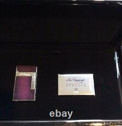 St Dupont Atelier Line 2 Limited Edition Palladium Lighter Purple Lacquer 16260