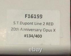 St Dupont Opus X Linge 2 Ligne 2 Édition Limitée Or Briquet Laque Rouge 2oth An